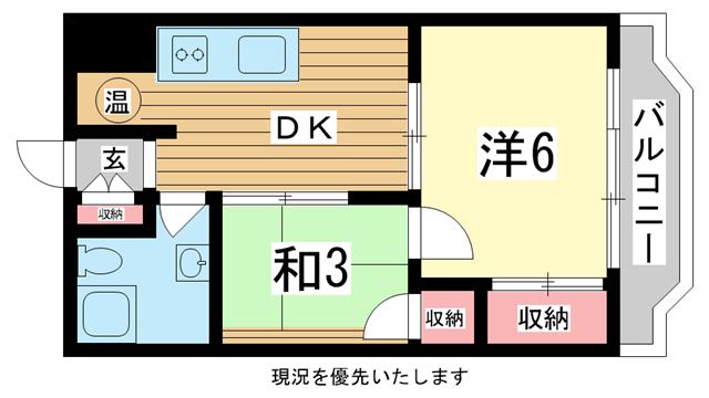 物件番号: 1025800046 北野町アーバンライフ  神戸市中央区北野町2丁目 2DK マンション 間取り図