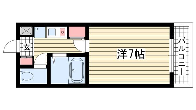 物件番号: 1025800095 ベルフォーレ上筒井  神戸市中央区上筒井通6丁目 1K マンション 間取り図