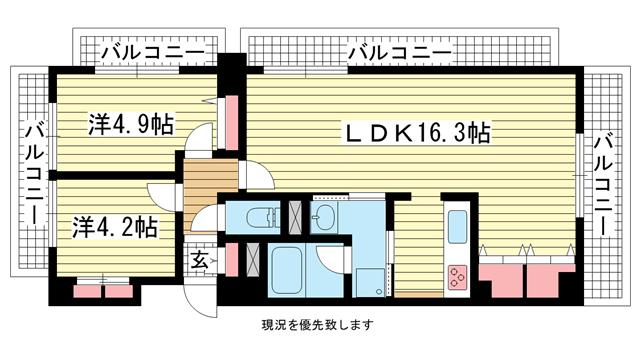 物件番号: 1025800150 アンビエント中山手  神戸市中央区中山手通4丁目 2LDK マンション 間取り図