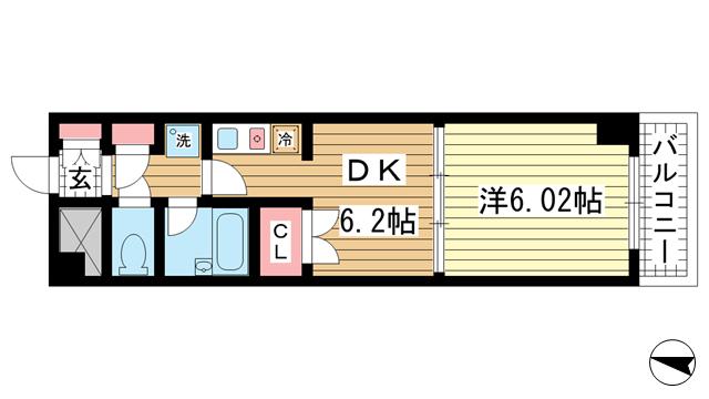 物件番号: 1025800166 プリンスコート  神戸市中央区御幸通5丁目 1DK マンション 間取り図