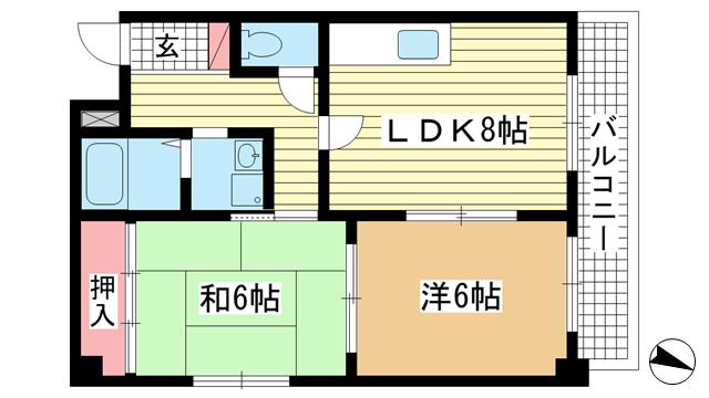 物件番号: 1025800211 アルカディア諏訪山  神戸市中央区山本通5丁目 2LDK マンション 間取り図