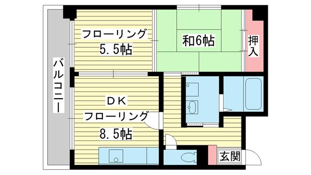物件番号: 1025800213 アルカディア諏訪山  神戸市中央区山本通5丁目 2DK マンション 間取り図
