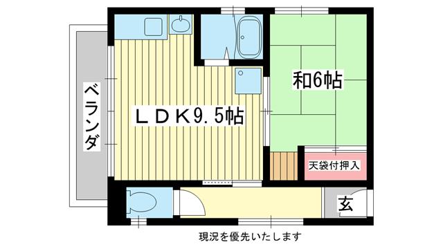 物件番号: 1025800293 ニュー宮西  神戸市中央区二宮町1丁目 1LDK アパート 間取り図