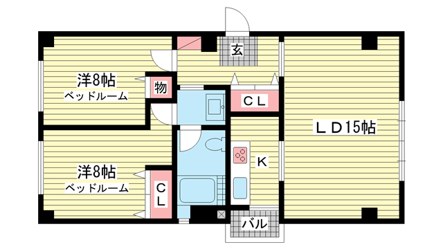 物件番号: 1025800313 第6スカイマンション  神戸市中央区山本通2丁目 2LDK マンション 間取り図