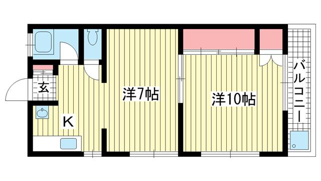 物件番号: 1025800349 エクセル神戸  神戸市中央区熊内町8丁目 1LDK マンション 間取り図