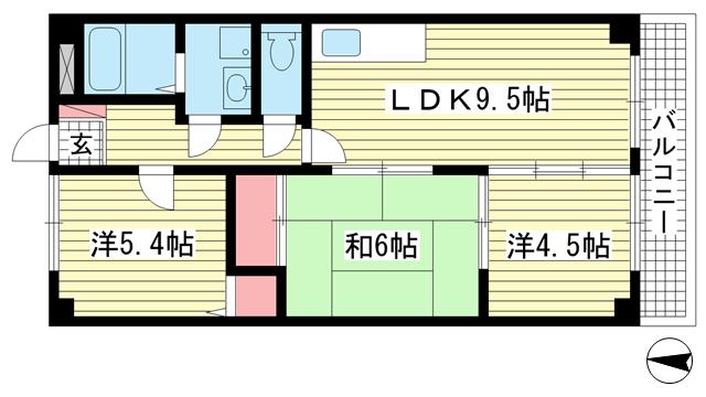 物件番号: 1025800361 ベルコート相楽園  神戸市中央区山本通5丁目 3LDK マンション 間取り図