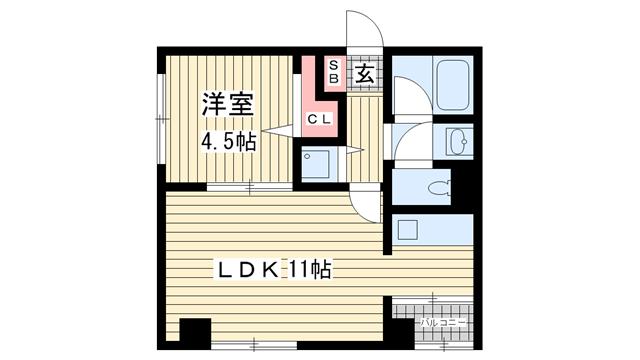 物件番号: 1025801034 サンビルダー新神戸2  神戸市中央区生田町1丁目 1LDK マンション 間取り図