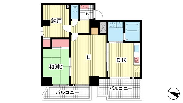 物件番号: 1025801187 パルシオ三宮フラワーロード  神戸市中央区浜辺通6丁目 1LDK マンション 間取り図