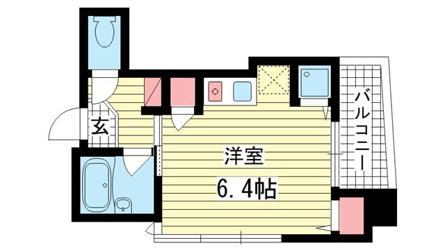 物件番号: 1025801191 マンションマイウェイ  神戸市中央区下山手通2丁目 1R マンション 間取り図