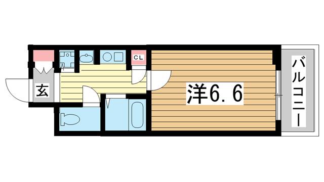 物件番号: 1025801341 ロイヤルヒル神戸三ノ宮Ⅱ  神戸市中央区加納町3丁目 1K マンション 間取り図