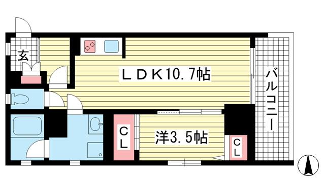 物件番号: 1025801509 BLMY.115  神戸市中央区中山手通7丁目 1LDK マンション 間取り図