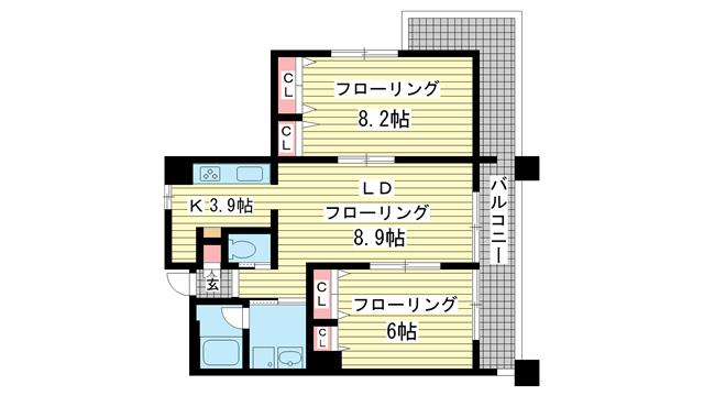 物件番号: 1025801797 アーバネックス神戸駅前  神戸市中央区相生町5丁目 2LDK マンション 間取り図