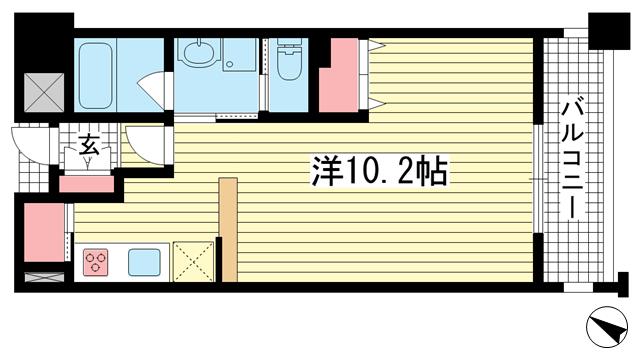 物件番号: 1025801841 アーバネックス神戸駅前  神戸市中央区相生町5丁目 1LDK マンション 間取り図