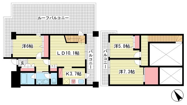 物件番号: 1025801865 アーバネックス神戸駅前  神戸市中央区相生町5丁目 3LDK マンション 間取り図
