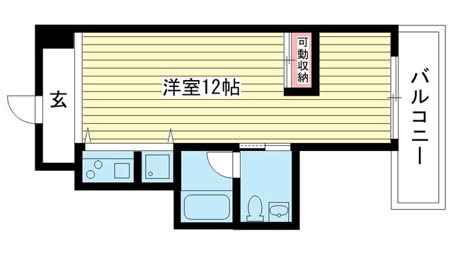 物件番号: 1025801889 PH-2  神戸市兵庫区入江通1丁目 1R マンション 間取り図