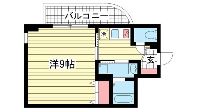 物件番号: 1025801931 アクアプレイス新神戸駅前  神戸市中央区熊内町7丁目 1K マンション 間取り図