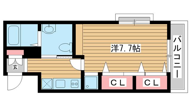 物件番号: 1025802226 M's三宮  神戸市中央区八雲通6丁目 1K マンション 間取り図