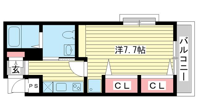 物件番号: 1025802228 M's三宮  神戸市中央区八雲通6丁目 1K マンション 間取り図