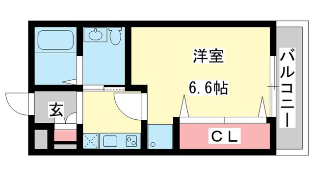 物件番号: 1025802231 M's三宮  神戸市中央区八雲通6丁目 1K マンション 間取り図