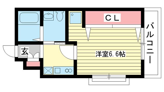 物件番号: 1025802234 M's三宮  神戸市中央区八雲通6丁目 1K マンション 間取り図