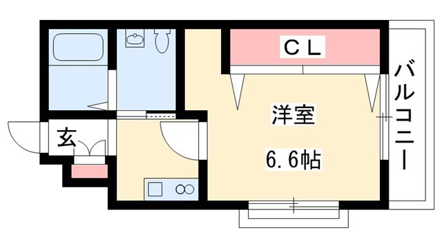 物件番号: 1025802236 M's三宮  神戸市中央区八雲通6丁目 1K マンション 間取り図