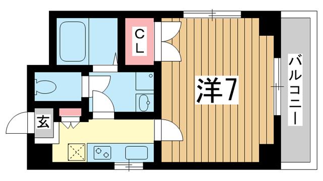 物件番号: 1025802414 レグルスコート  神戸市中央区東雲通1丁目 1K マンション 間取り図