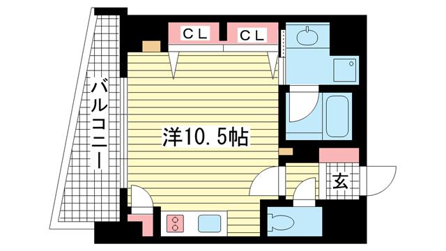 物件番号: 1025802488 KAISEI神戸海岸通第2  神戸市中央区海岸通2丁目 1R マンション 間取り図