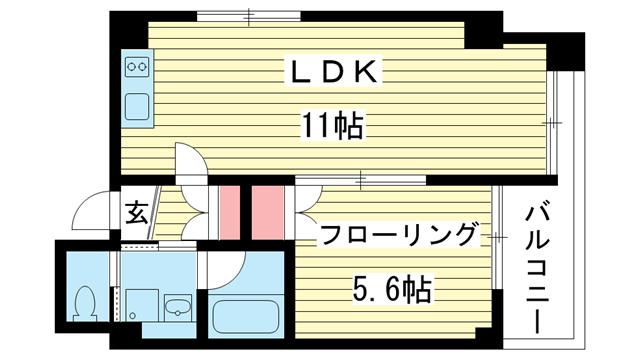 物件番号: 1025802508 PITTORESQUE  神戸市中央区楠町5丁目 1LDK マンション 間取り図