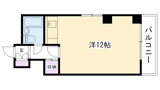 物件番号: 1025802677 ヴィラ布引  神戸市中央区布引町2丁目 1R マンション 間取り図