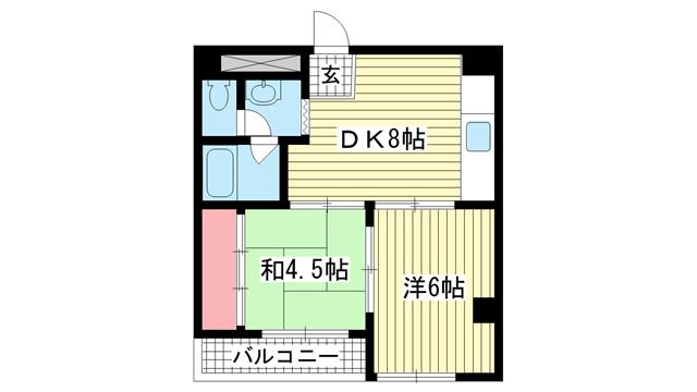 物件番号: 1025802763 甲南第2サンコーポラス  神戸市中央区古湊通2丁目 2DK マンション 間取り図