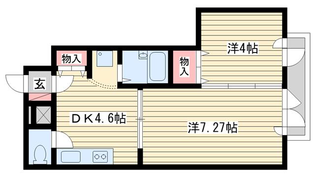 物件番号: 1025802764 CHALET元町  神戸市中央区北長狭通4丁目 2DK マンション 間取り図