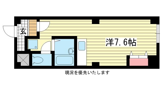 物件番号: 1025802787 坂井ビル  神戸市中央区中山手通1丁目 1R マンション 間取り図
