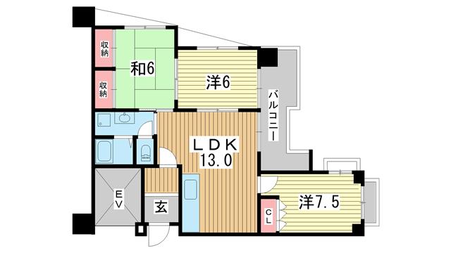 物件番号: 1025802806 エイコースカイハイツ  神戸市中央区中山手通2丁目 3LDK マンション 間取り図