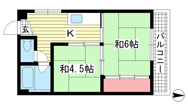 物件番号: 1025802825 新富ハイツ  神戸市中央区八雲通1丁目 2DK マンション 間取り図