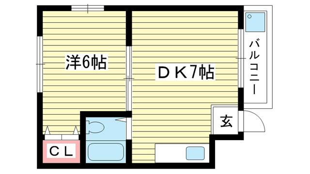物件番号: 1025802830 シティライフ相楽園  神戸市中央区山本通5丁目 1DK マンション 間取り図