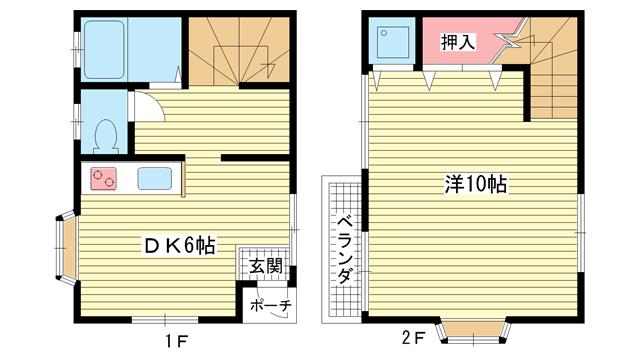 物件番号: 1025802868 花隈つる貸家  神戸市中央区花隈町 1LDK 貸家 間取り図