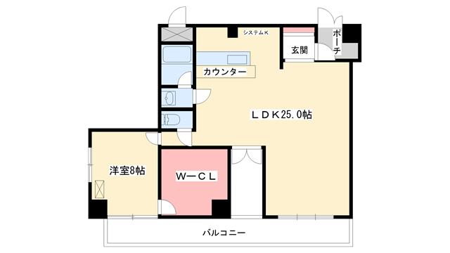物件番号: 1025802904 東洋ハイツ  神戸市中央区山本通1丁目 1LDK マンション 間取り図