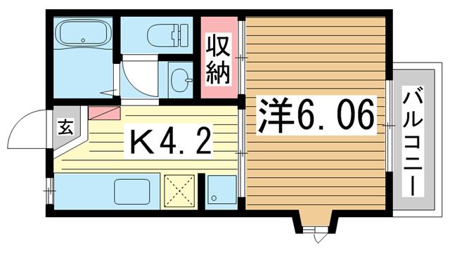 物件番号: 1025802959 メゾン・ド・新神戸  神戸市中央区熊内町5丁目 1K マンション 間取り図
