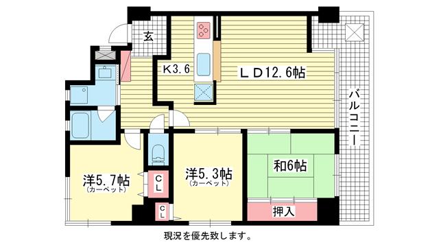 物件番号: 1025803116 エステムコート三宮東  神戸市中央区八雲通1丁目 3LDK マンション 間取り図