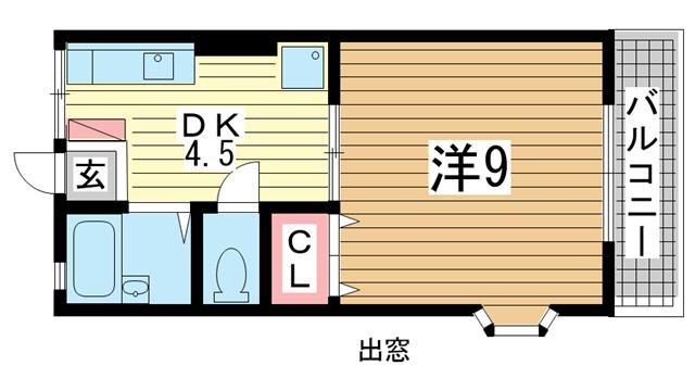 物件番号: 1025803335 タウンハイム須磨南  神戸市須磨区南町1丁目 1DK ハイツ 間取り図
