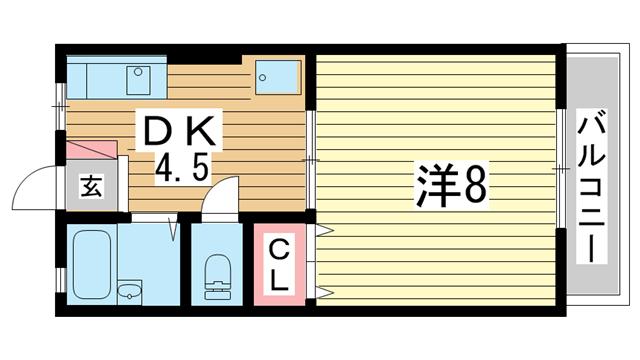 物件番号: 1025803338 タウンハイム須磨南  神戸市須磨区南町1丁目 1DK ハイツ 間取り図
