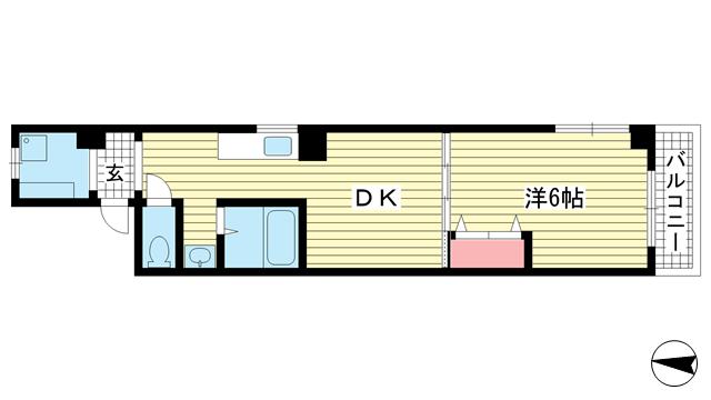 物件番号: 1025803729 KMコート  神戸市中央区下山手通8丁目 1LDK マンション 間取り図