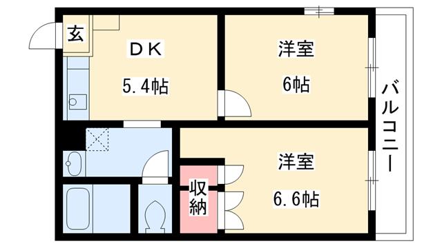 物件番号: 1025803893 ルミエール山手  神戸市兵庫区矢部町 2DK ハイツ 間取り図