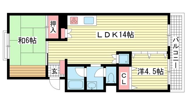 物件番号: 1025804186 シルフィード御崎  神戸市兵庫区御崎町1丁目 2LDK マンション 間取り図