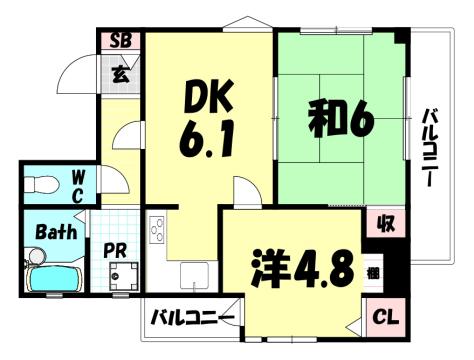 物件番号: 1025804299 三宮ハウス  神戸市中央区小野柄通3丁目 2DK マンション 間取り図