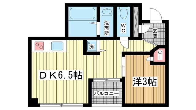 物件番号: 1025804342 オーズハイツ新神戸  神戸市中央区生田町4丁目 1DK マンション 間取り図