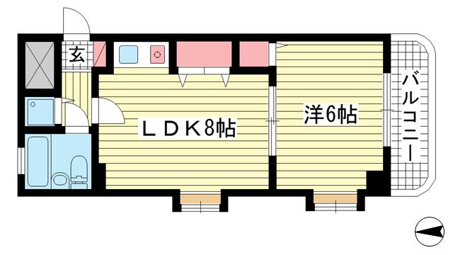 物件番号: 1025804389 ブランネージュ中山手  神戸市中央区中山手通7丁目 1LDK マンション 間取り図