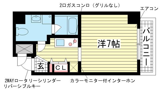 物件番号: 1025804568 チェメント  神戸市中央区御幸通2丁目 1K マンション 間取り図