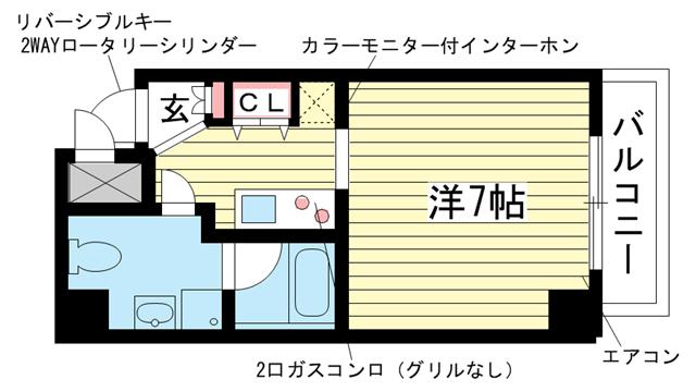 物件番号: 1025804575 チェメント  神戸市中央区御幸通2丁目 1K マンション 間取り図