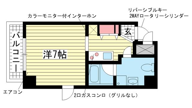 物件番号: 1025804584 チェメント  神戸市中央区御幸通2丁目 1K マンション 間取り図
